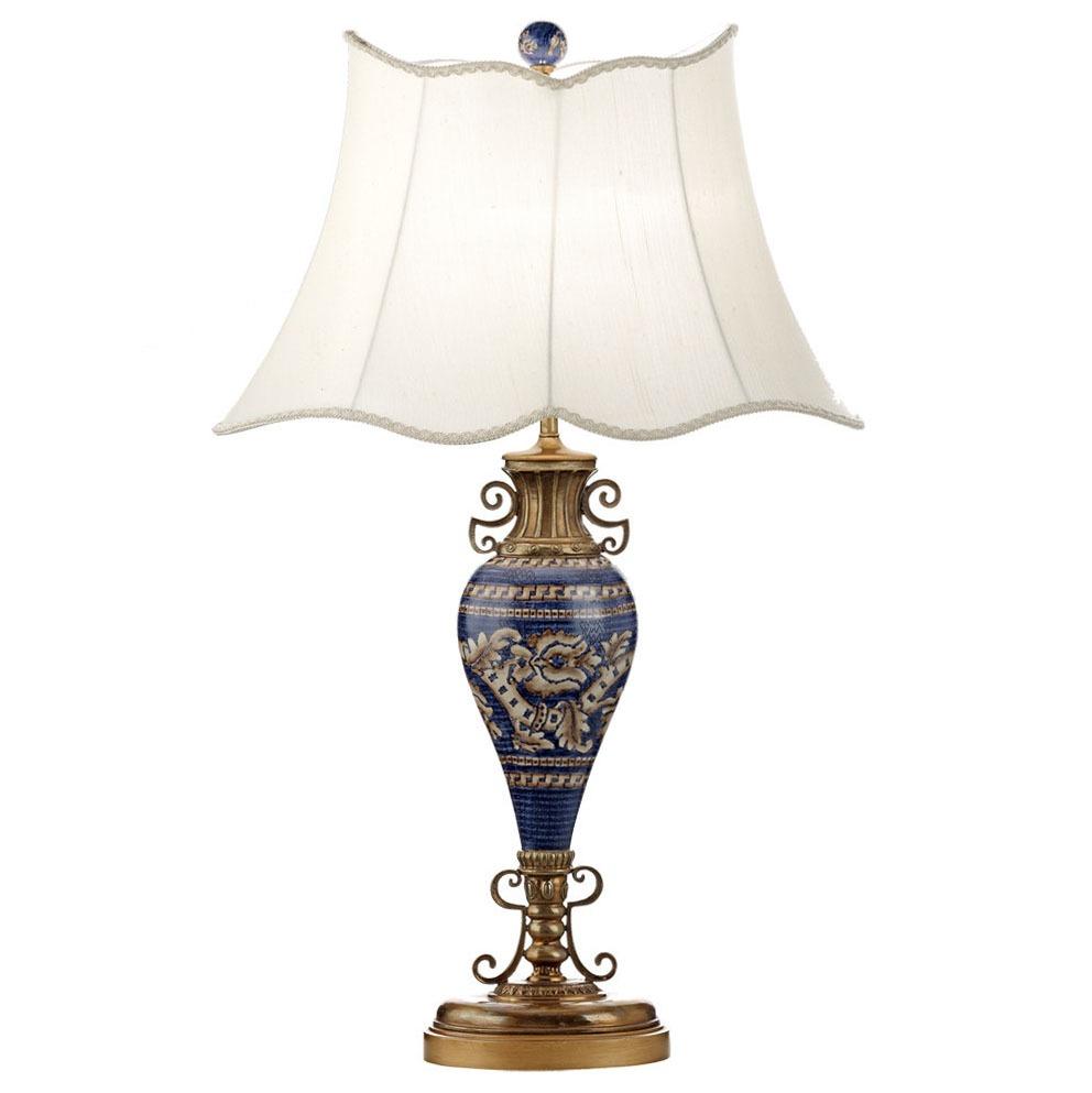 Royal blue porcelain vase table lamp