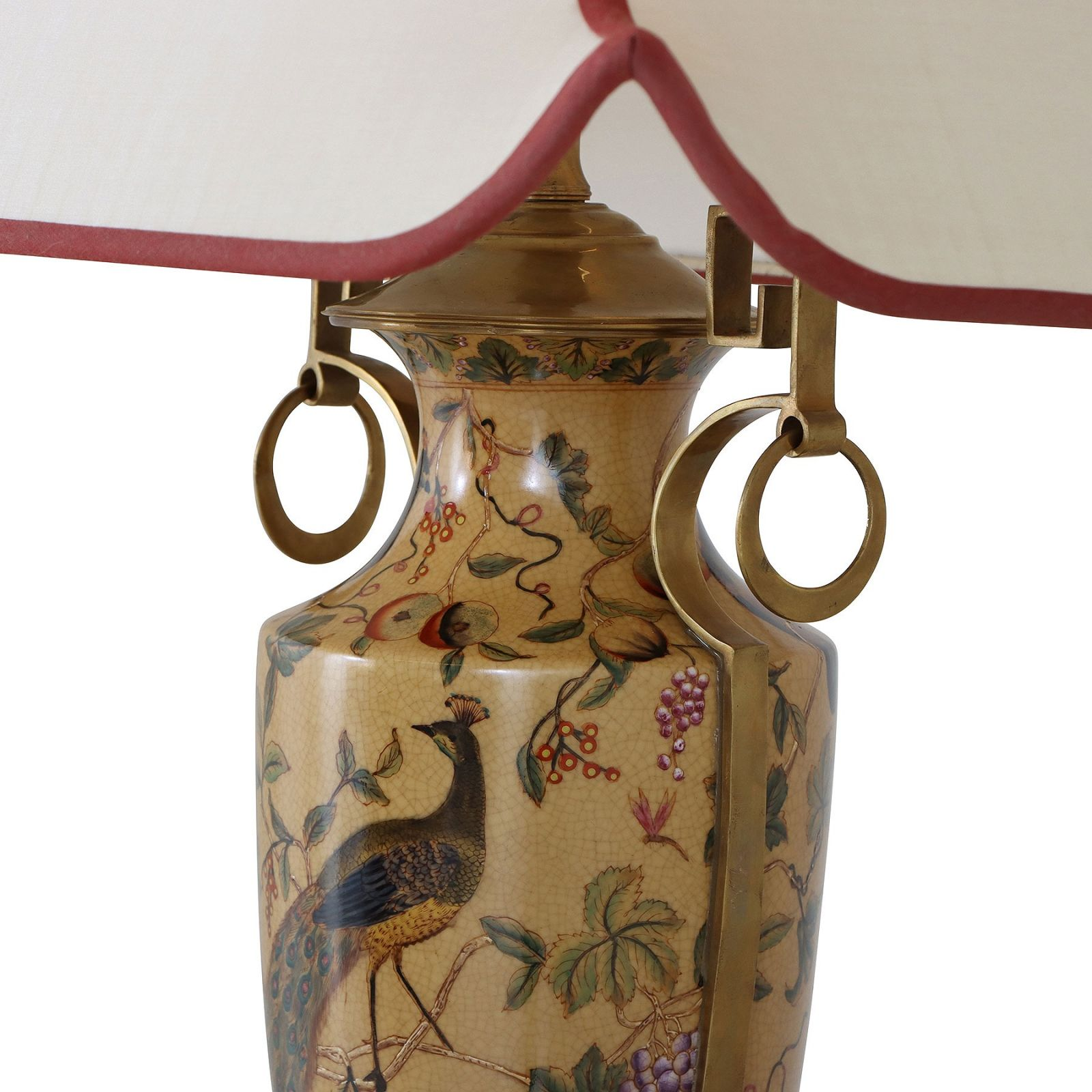 Porcelain vase table lamp with hand painted peacock and floral design