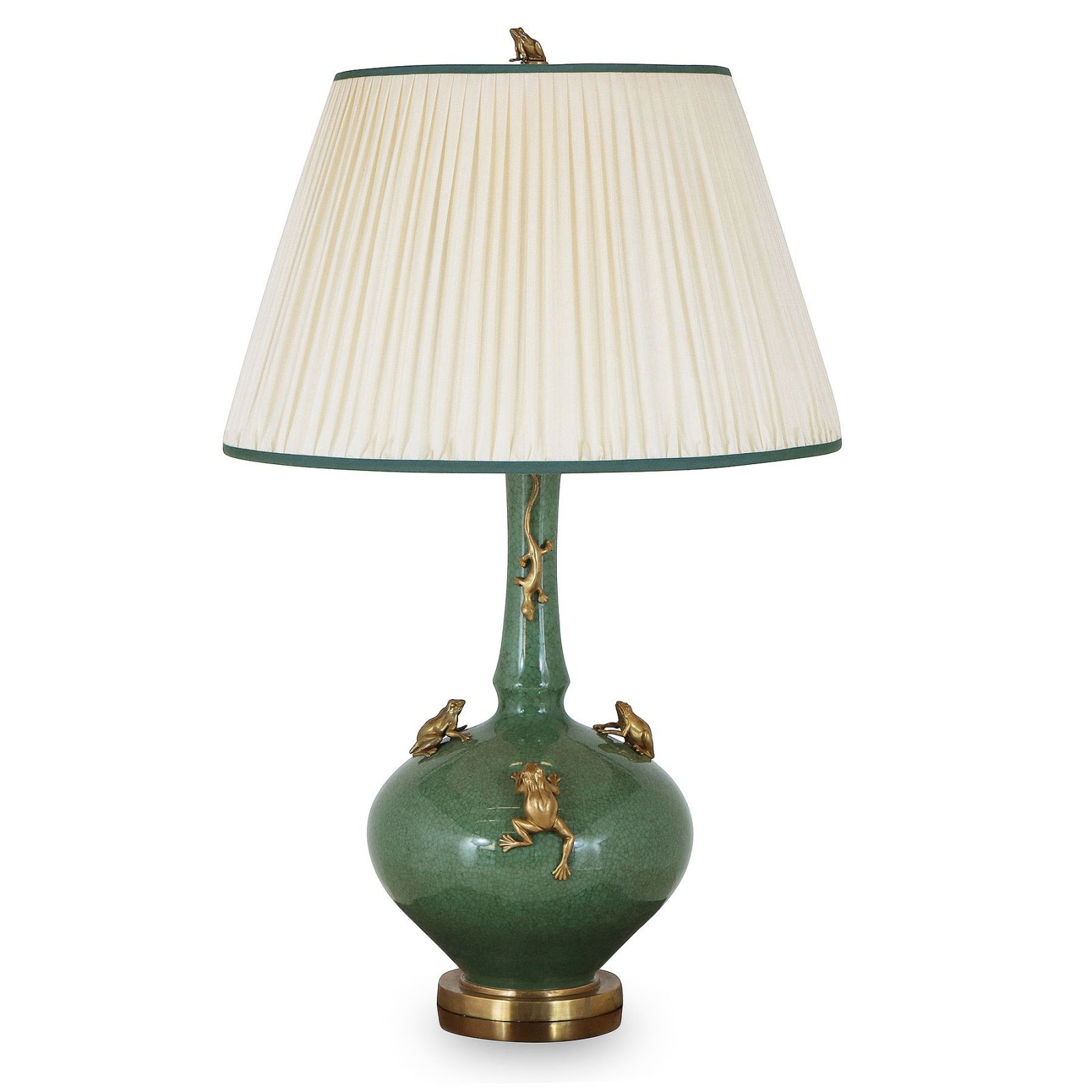 Green porcelain table lamp with brass frogs