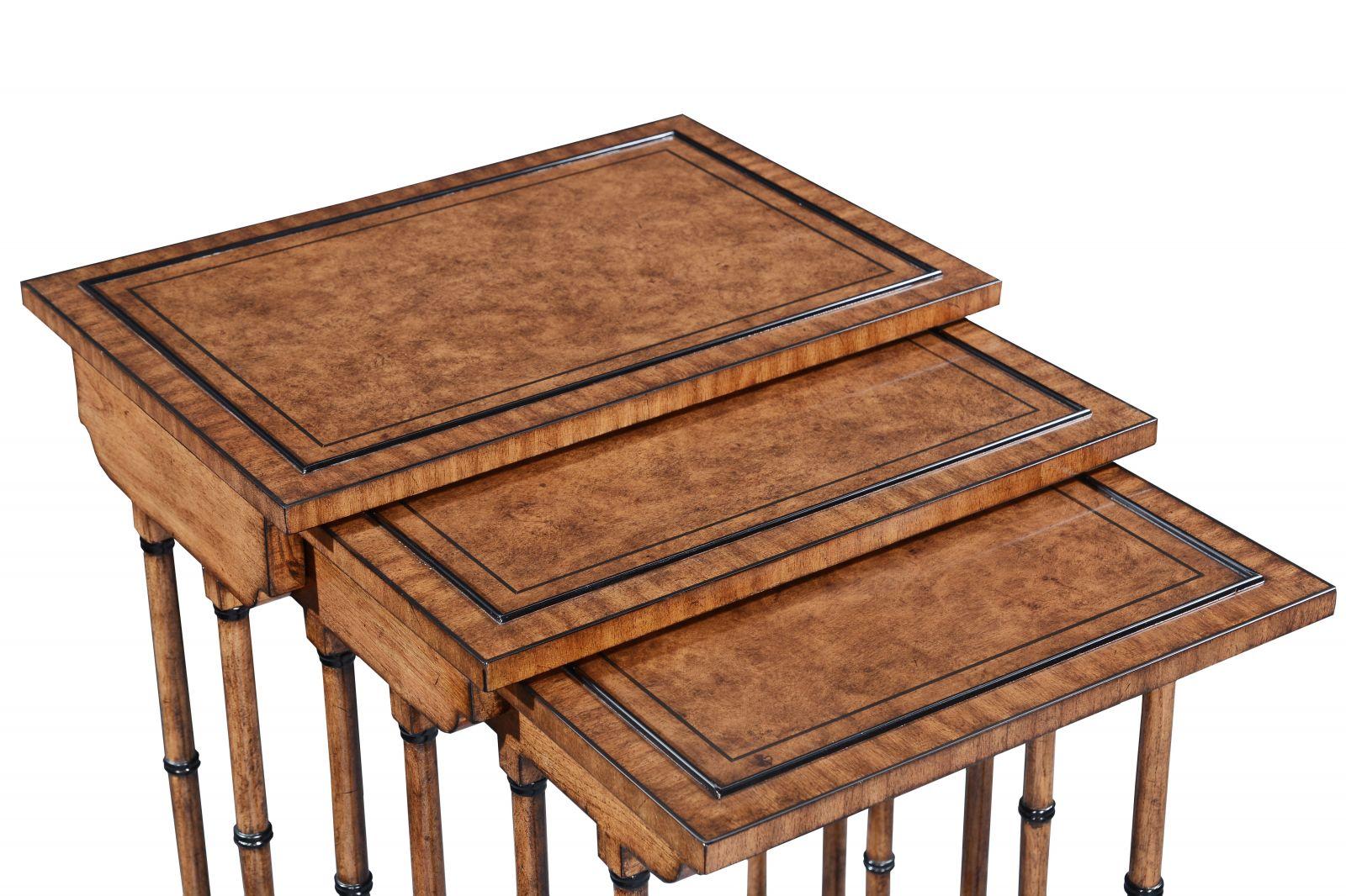 Antique style Nest of three tables - Burr oak