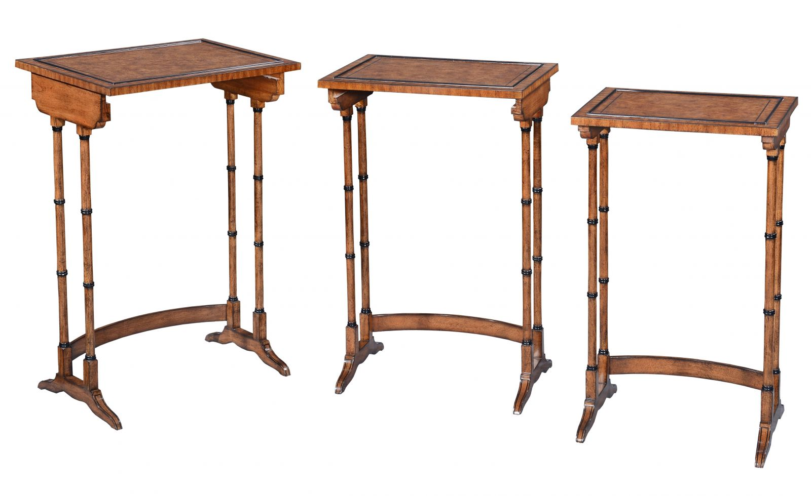 Antique style Nest of three tables - Burr oak