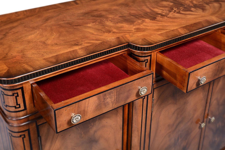Thomas Hope style mahogany breakfront sideboard - ebonised