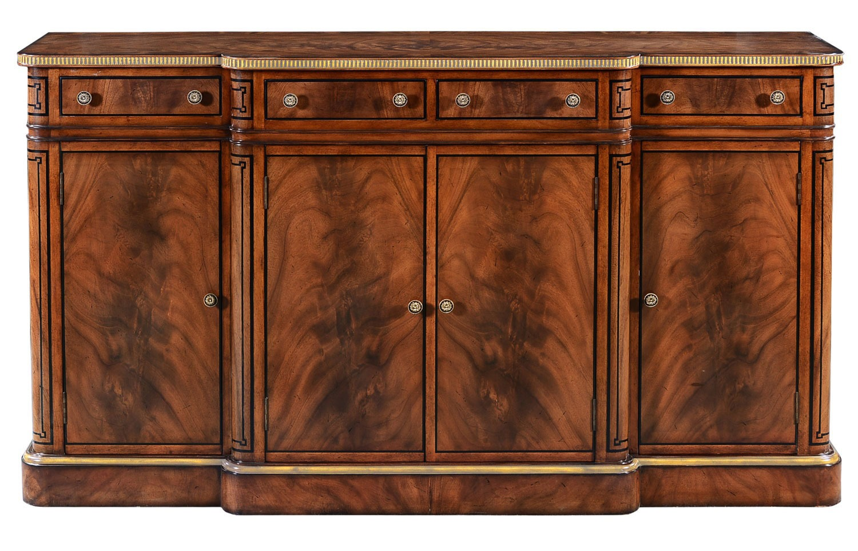 Thomas Hope style mahogany breakfront sideboard - gilded