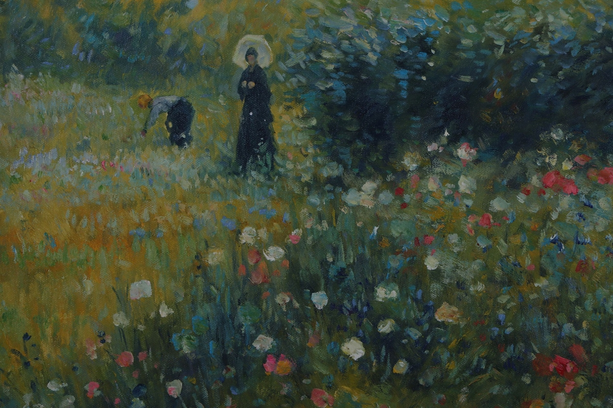 Woman With A Parasol In A Garden impressionist oil painting