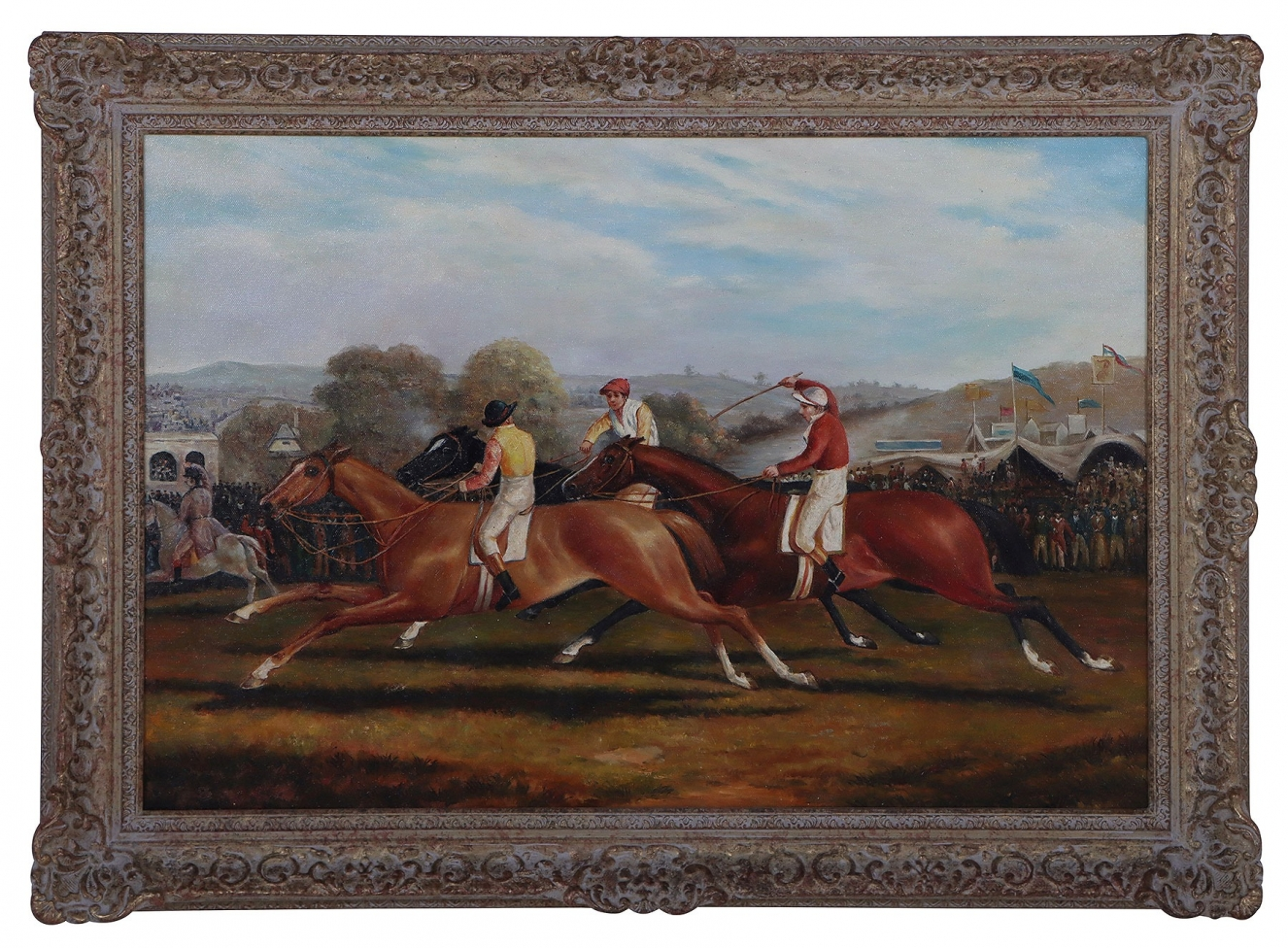 Down The Stretch horse race oil painting
