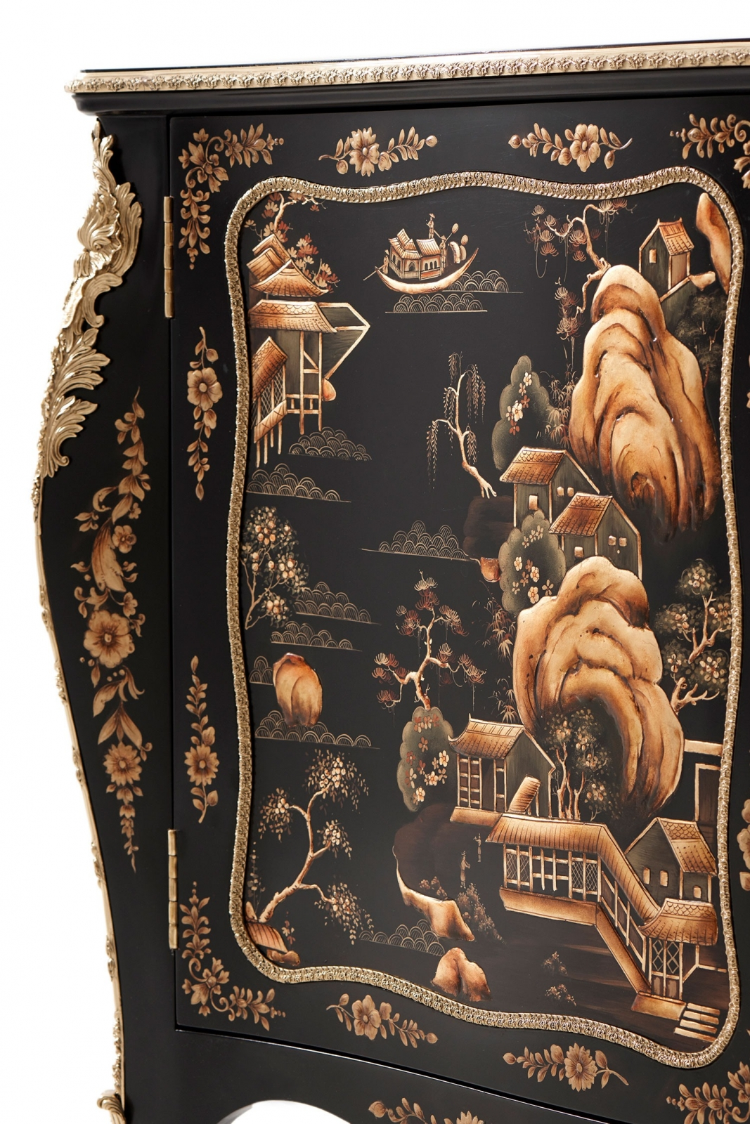 Black Chinoiserie Lacquered Serpentine Commode