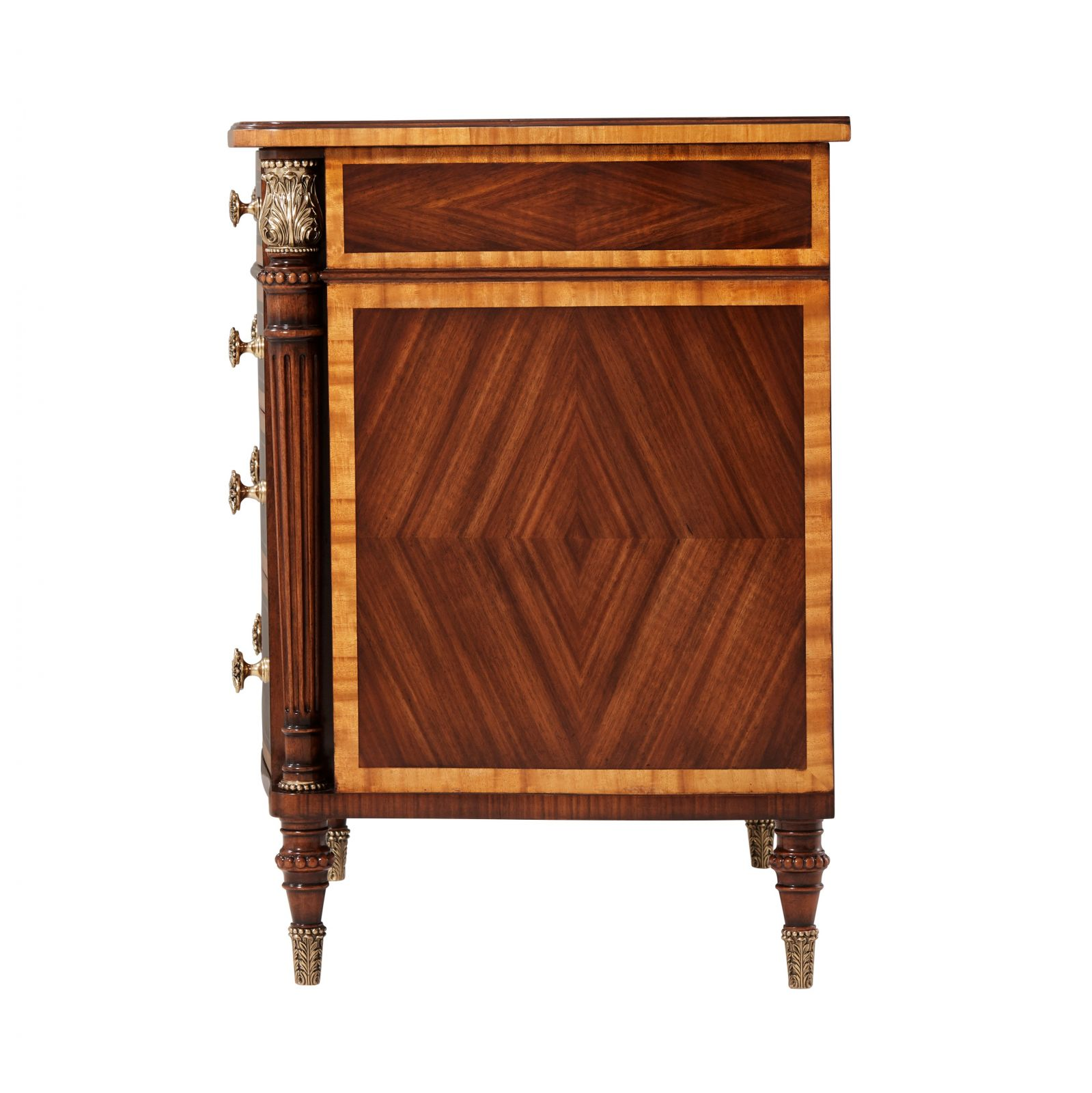 Serpentine Brass Inlaid Nightstand