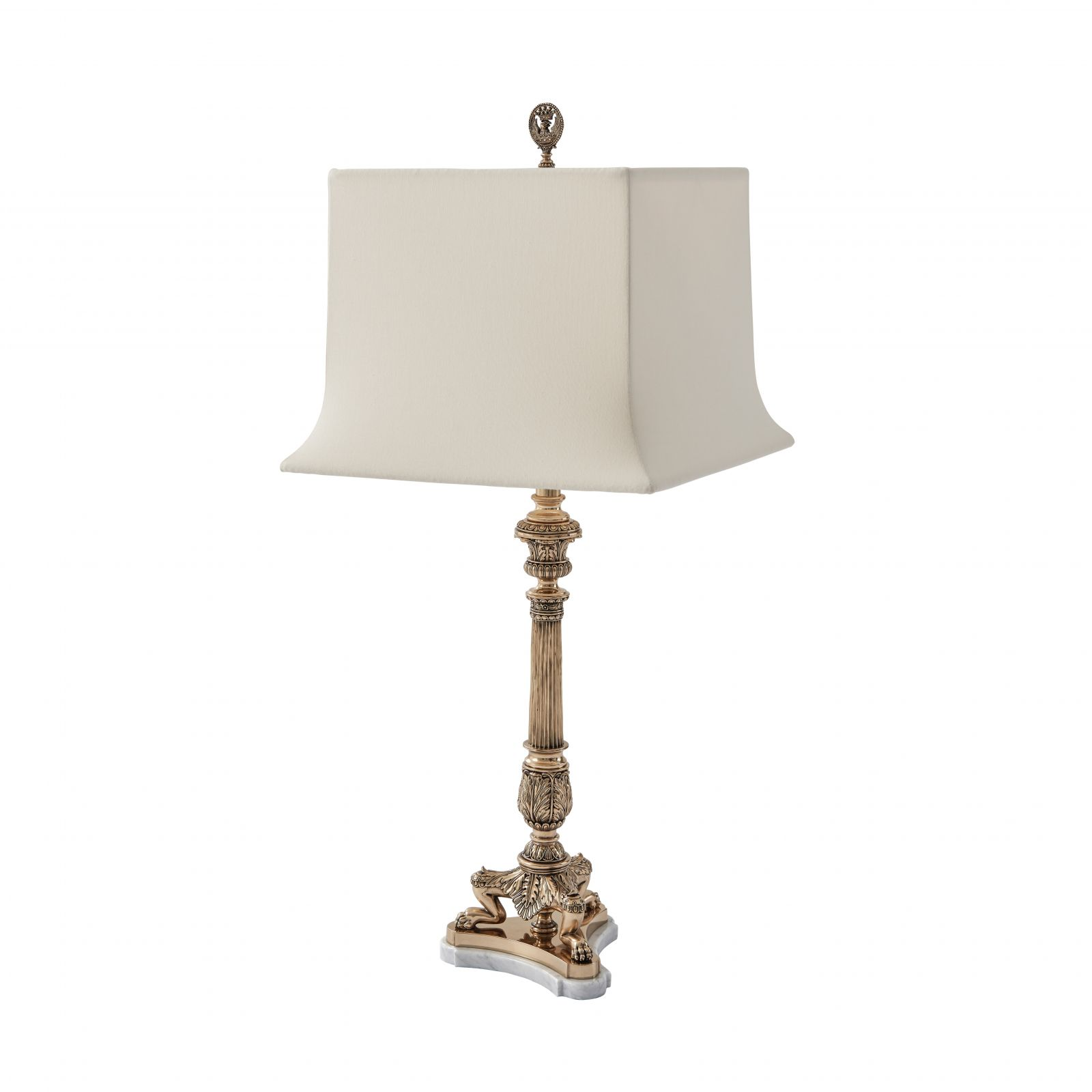 A Finely Cast Brass Table Lamp