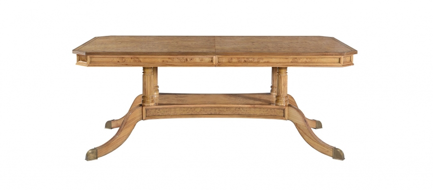 Honey burr oak extending dining table with 2 leaves