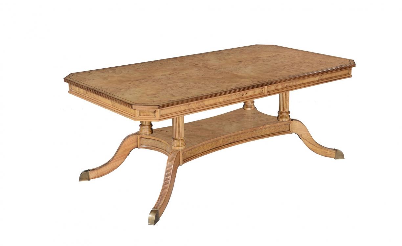Honey burr oak extending dining table with 2 leaves