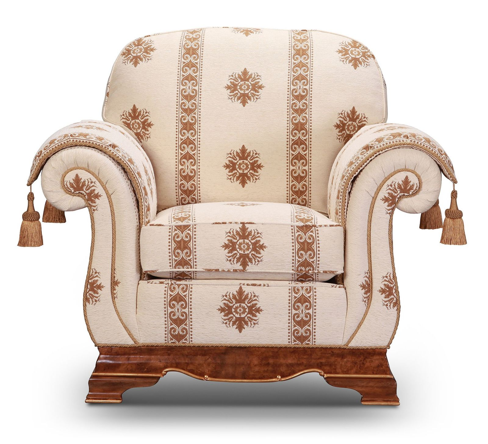 Dorchester sofa and chair in quality cream and brown fabric