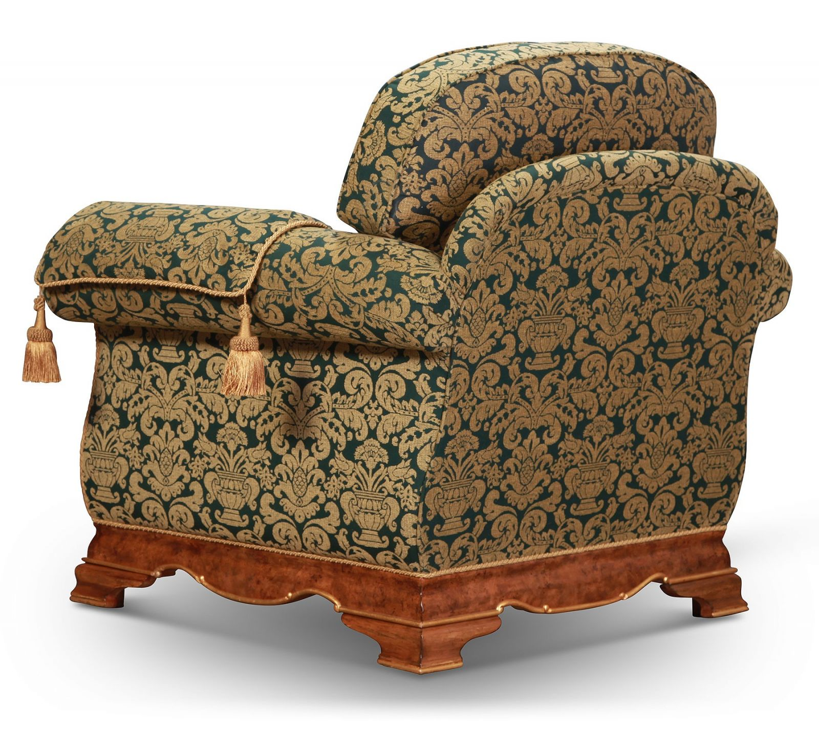 Dorchester sofa and chair in quality green and gold fabric
