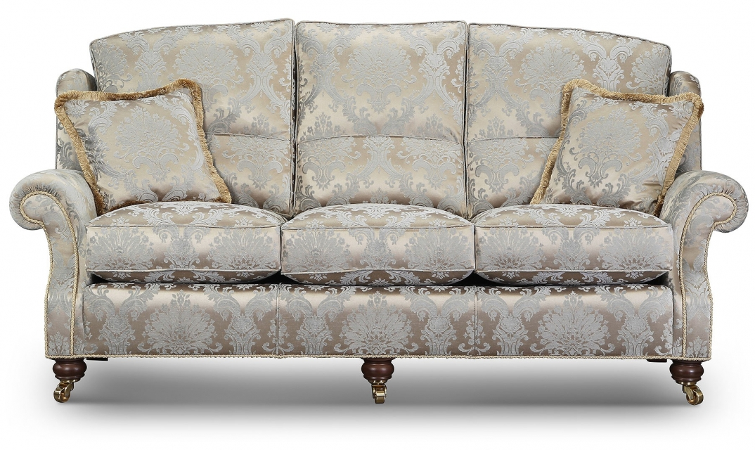 Skye 3 seat high back sofa in luxurious damask