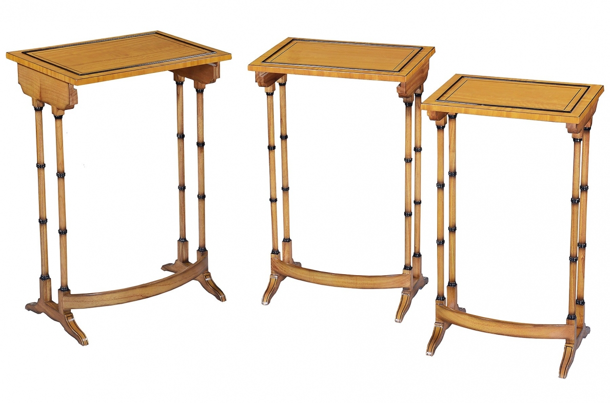 Antique style Nest of three tables - Sycamore