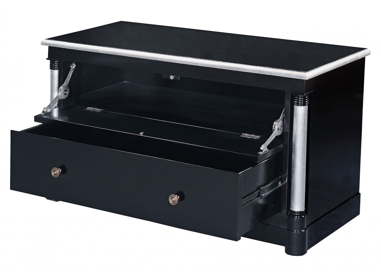 Empire television stand - ebony with silver