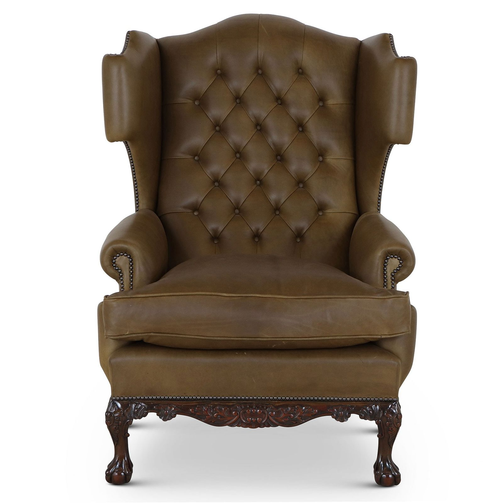 Dryden traditional buttoned leather wing chair - Olive green