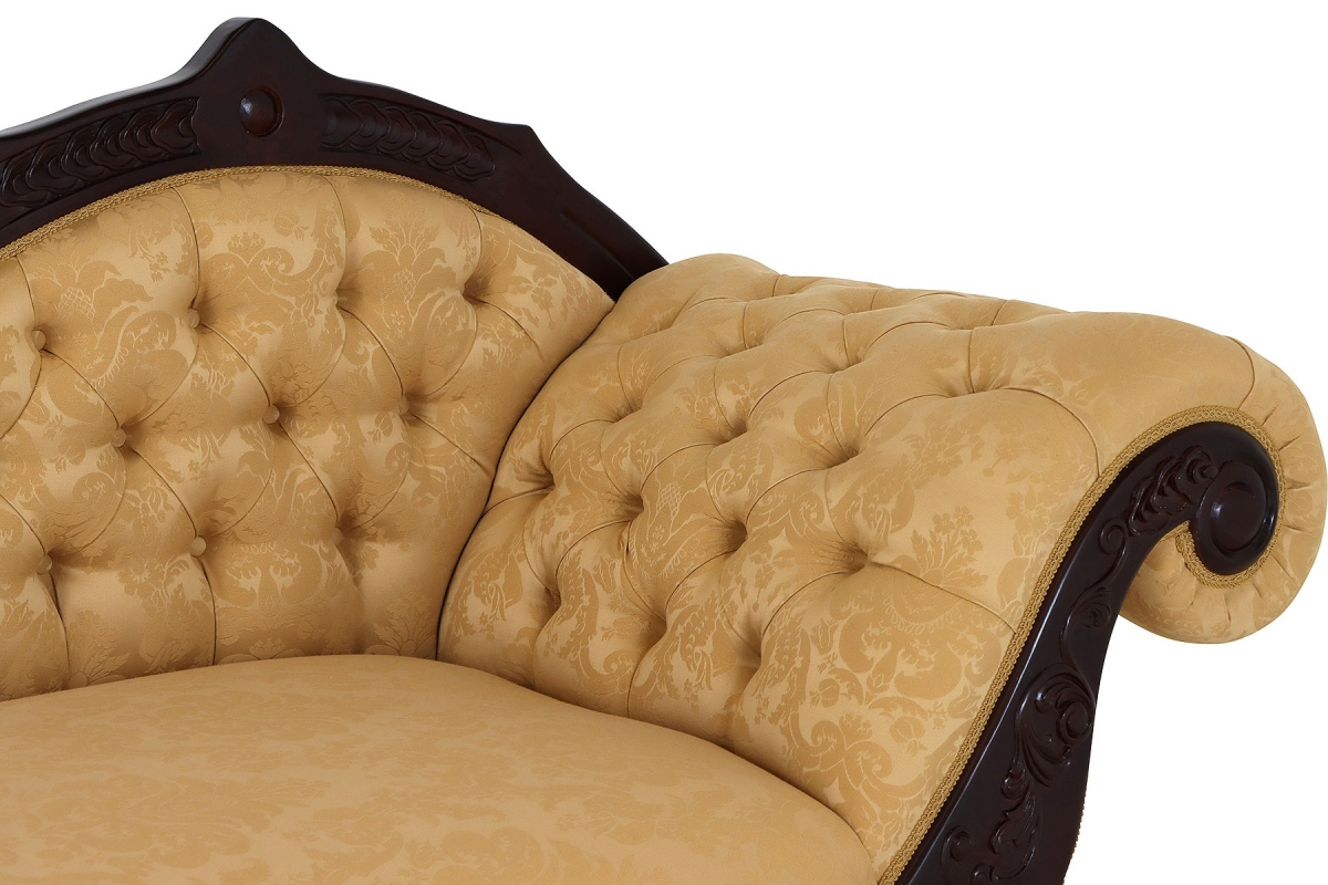Voysey Chaise longue in pale gold damask