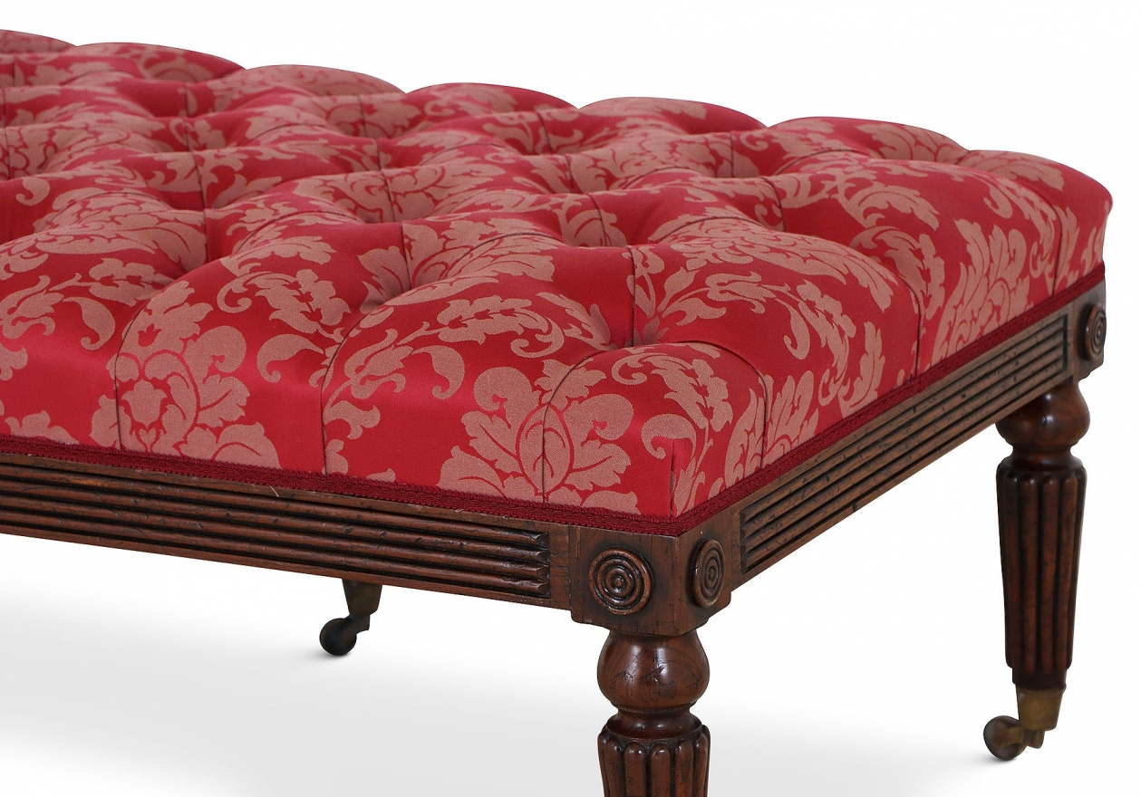 Mahogany buttoned leather stool - red damask