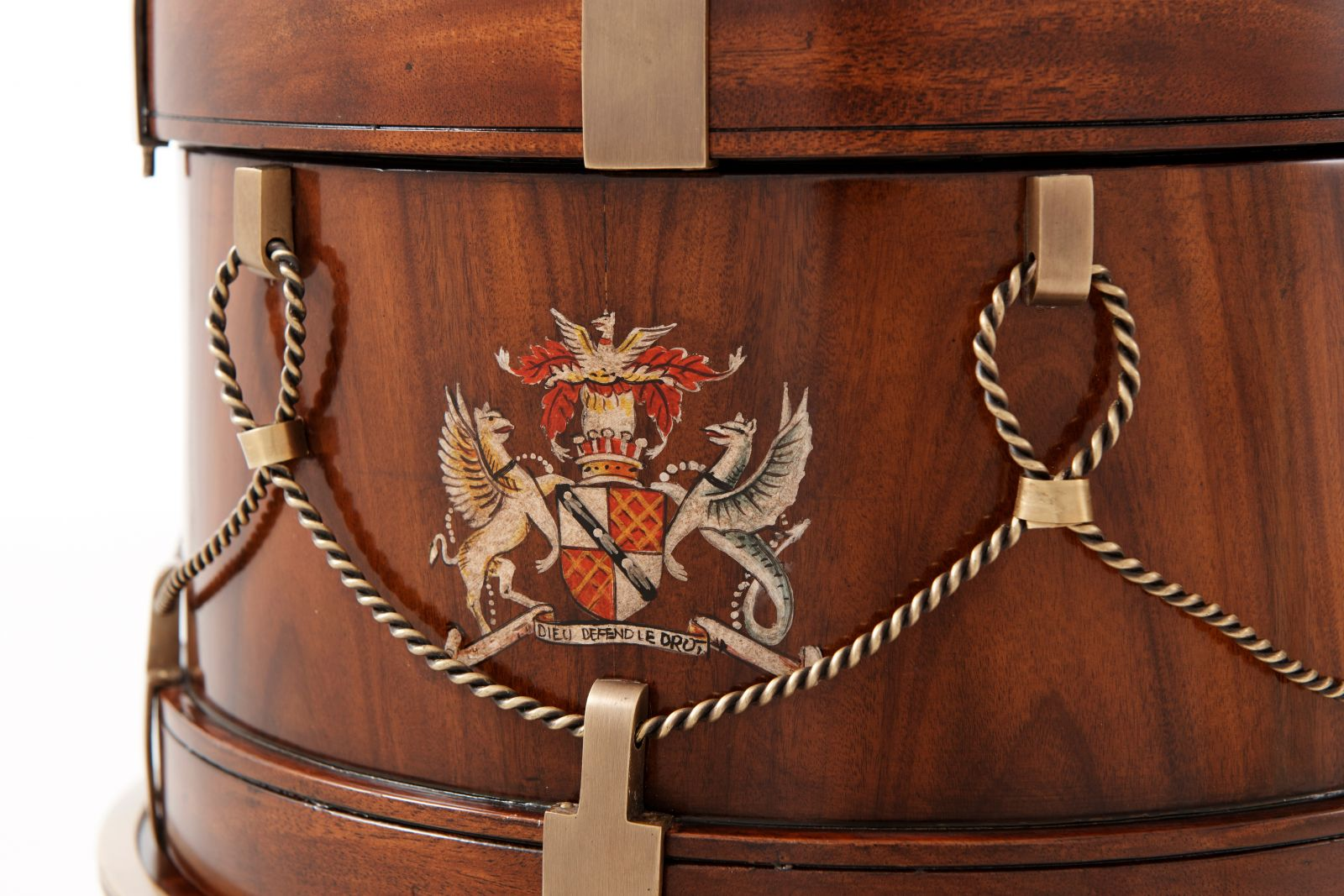 A Mahogany and Brass Drum Shaped Box