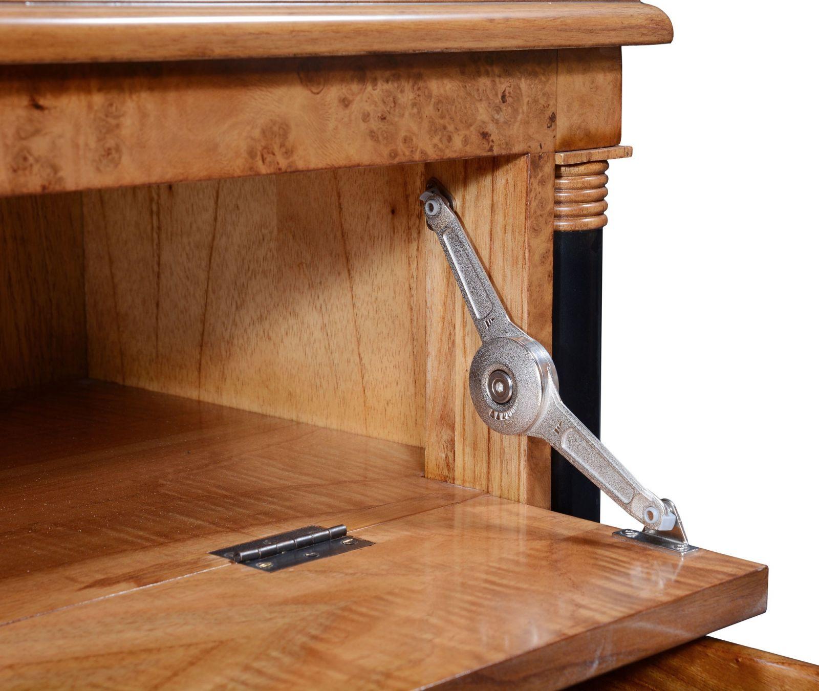 Empire television stand - honey burr oak with ebony line