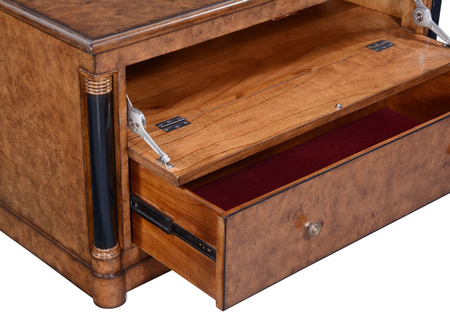 Empire television stand - burr oak with ebony line