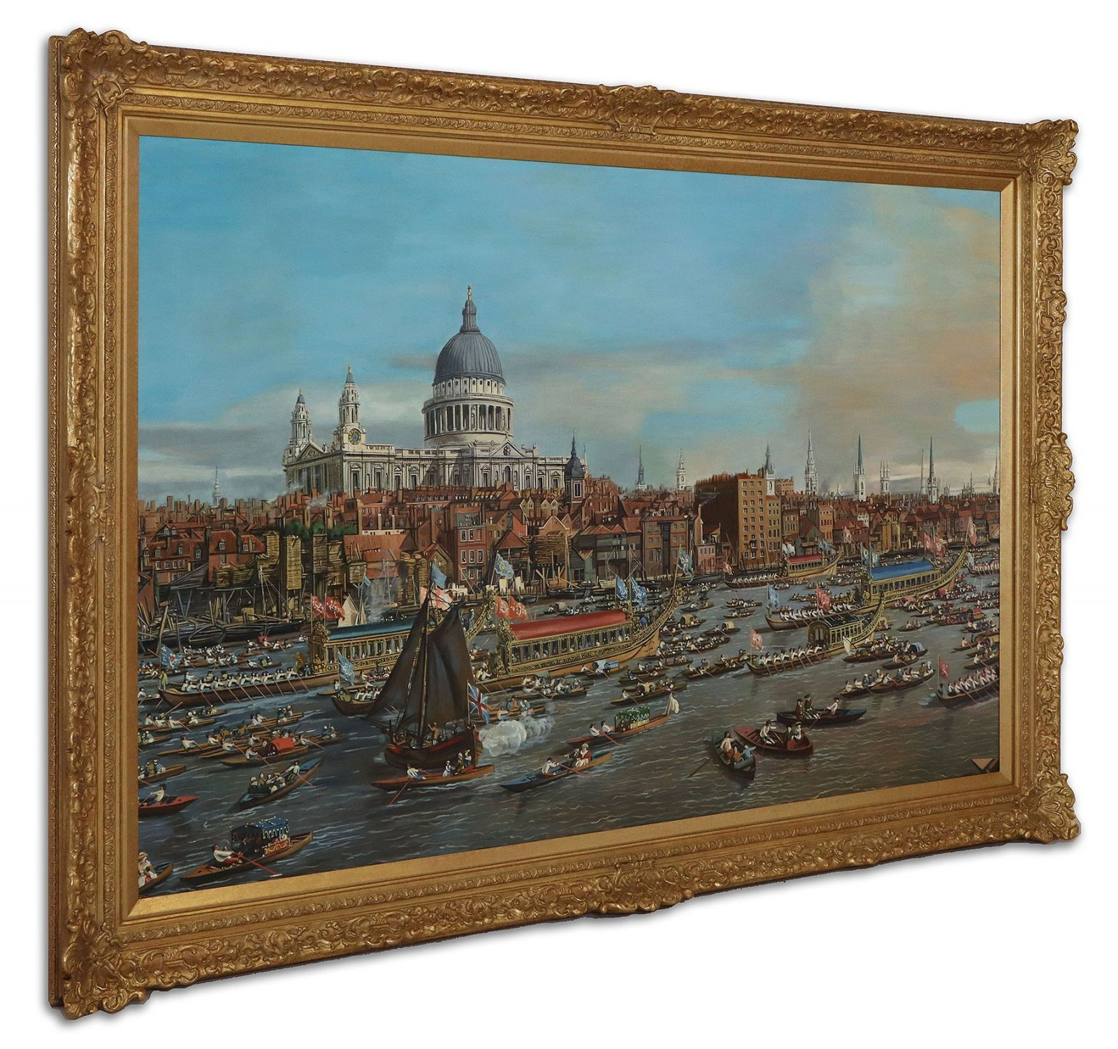 Oil Painting after The City of London from the River Thames with St. Paul's Cathedral by Canaletto