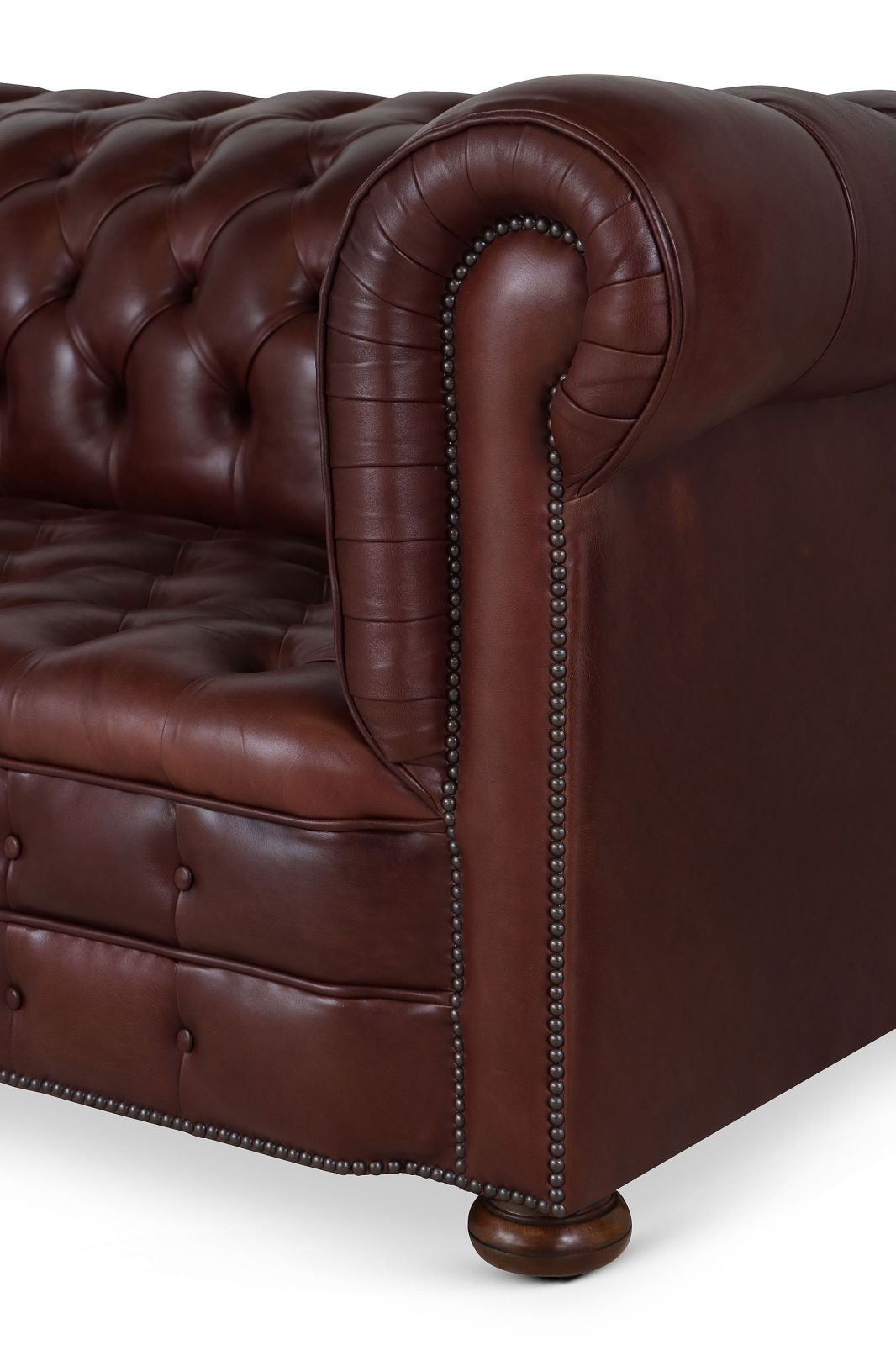 Dark brown leather fully buttoned Chesterfield - 4 seat