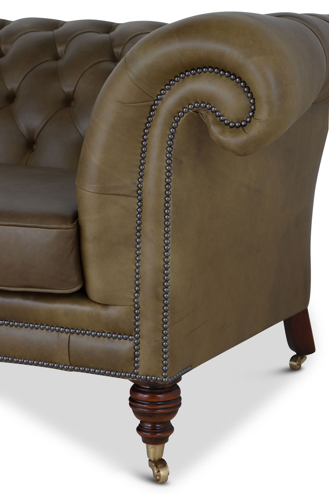 Cliveden 3 seat Chesterfield in olive green leather