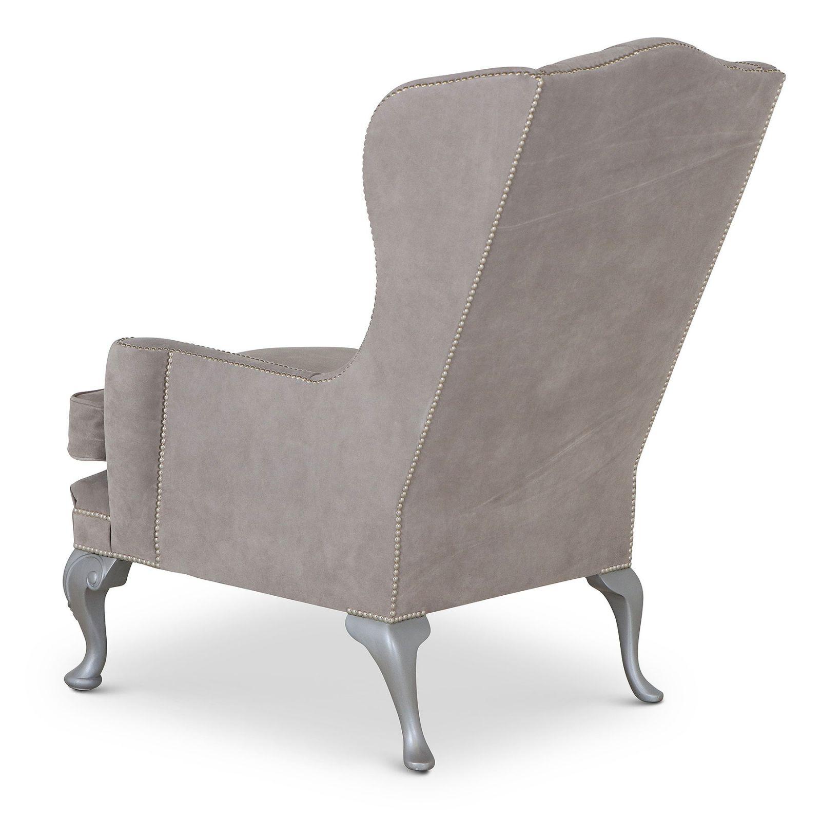 Melbury Grey Suede Wing Chair