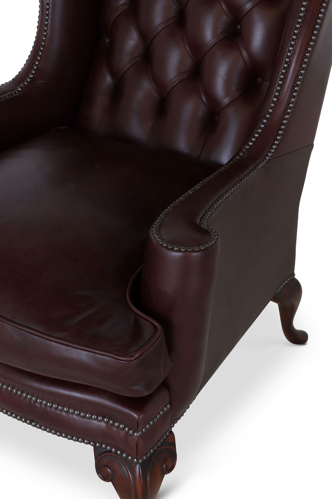 Melbury Dark Brown Leather Wing Chair