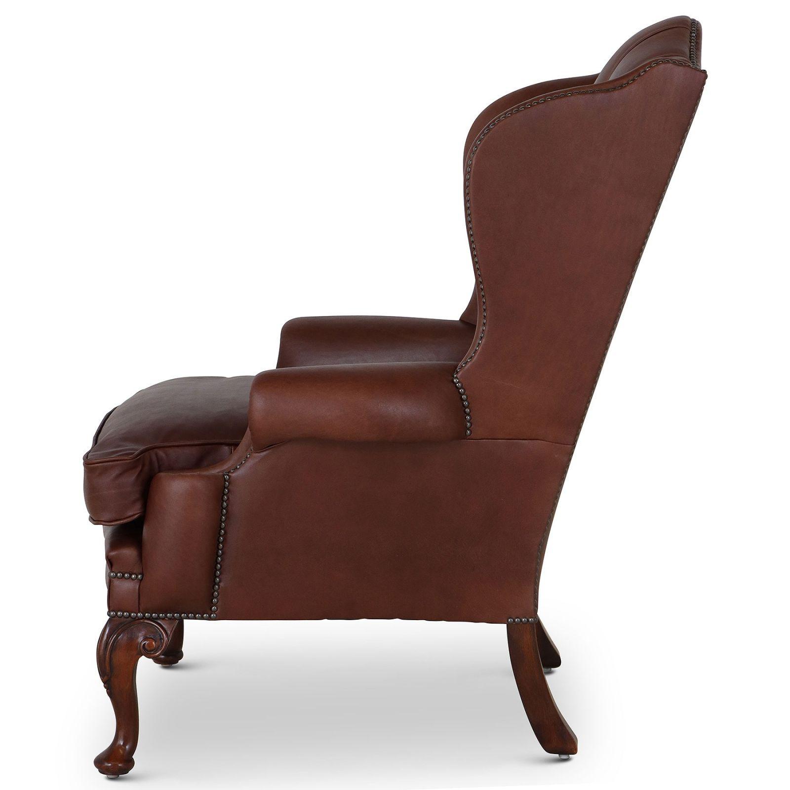 Hambledon Leather Wing Chair - Mahogany