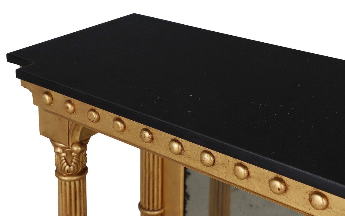 Giltwood console table with black granite top & antiqued glass