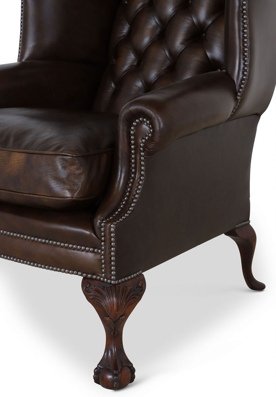 Coleridge traditional leather wing chair - Antique Gold