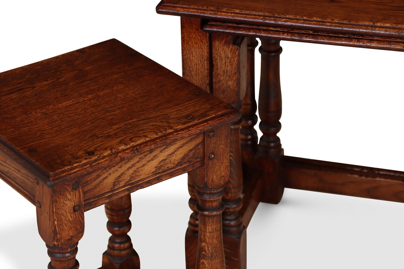 Solid oak nest of three tables