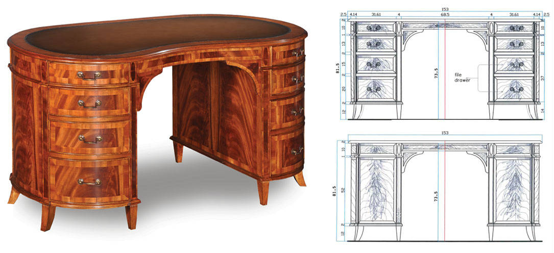 Bespoke kidney shaped mahogany desk to customers specification