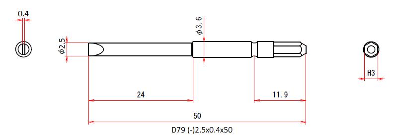 D79 (-)2.5x0.4x50