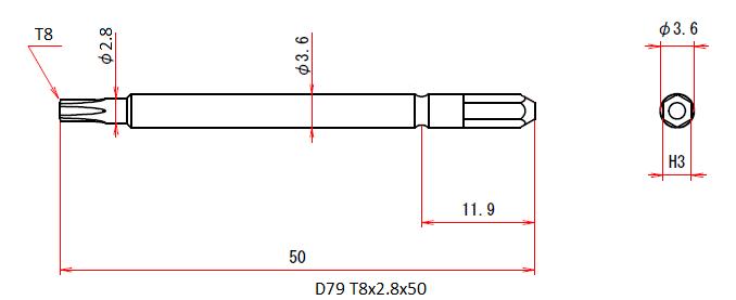 D79 T8x2.8x50