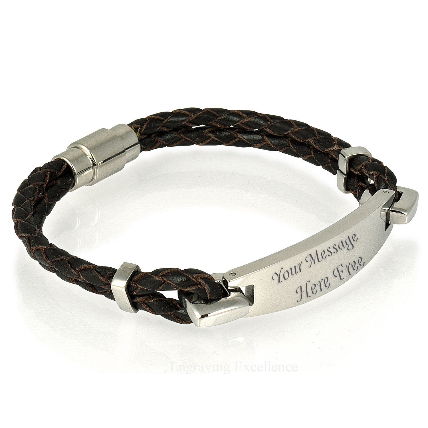 Brown Leather I.D Bracelet