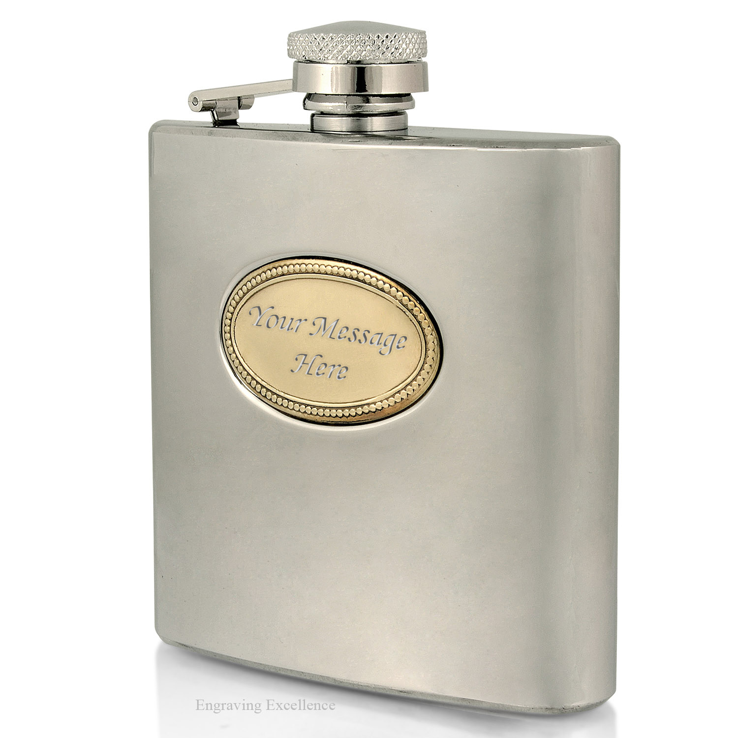 Brass Badge Hip Flask