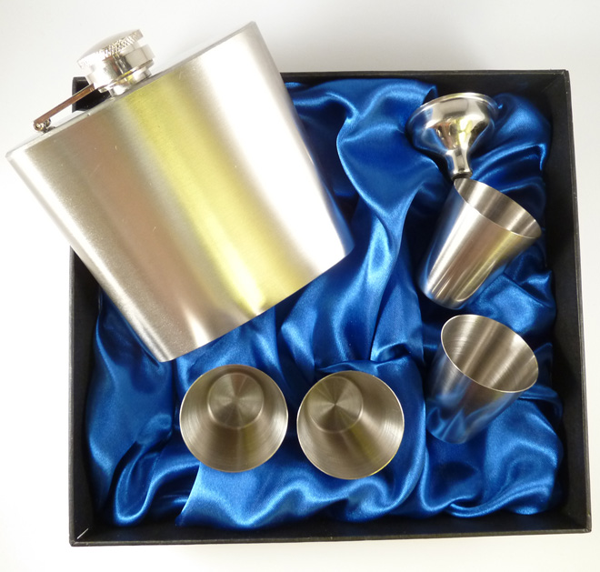 Hip Flask Gift Set with 4 cups and funnel