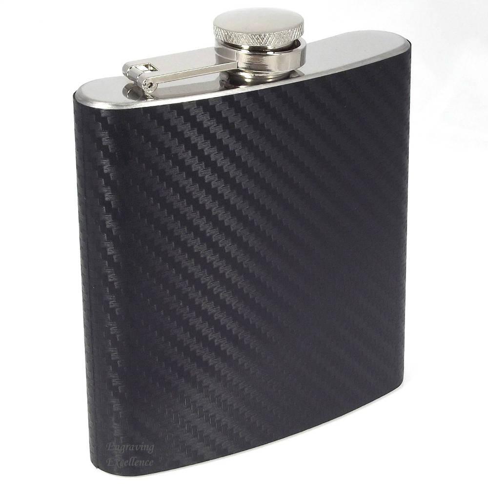 3oz Carbon Fibre Style Hip Flask