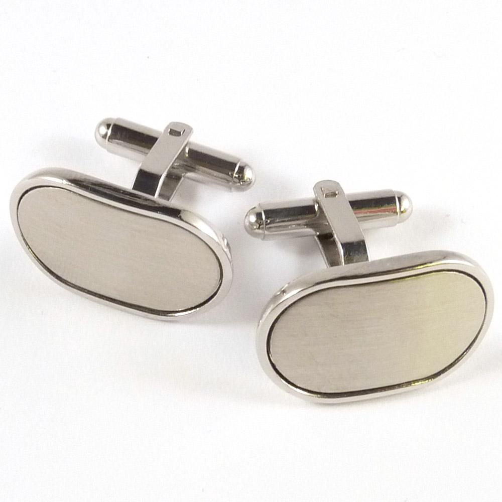 Brushed Steel, Oval Cufflinks