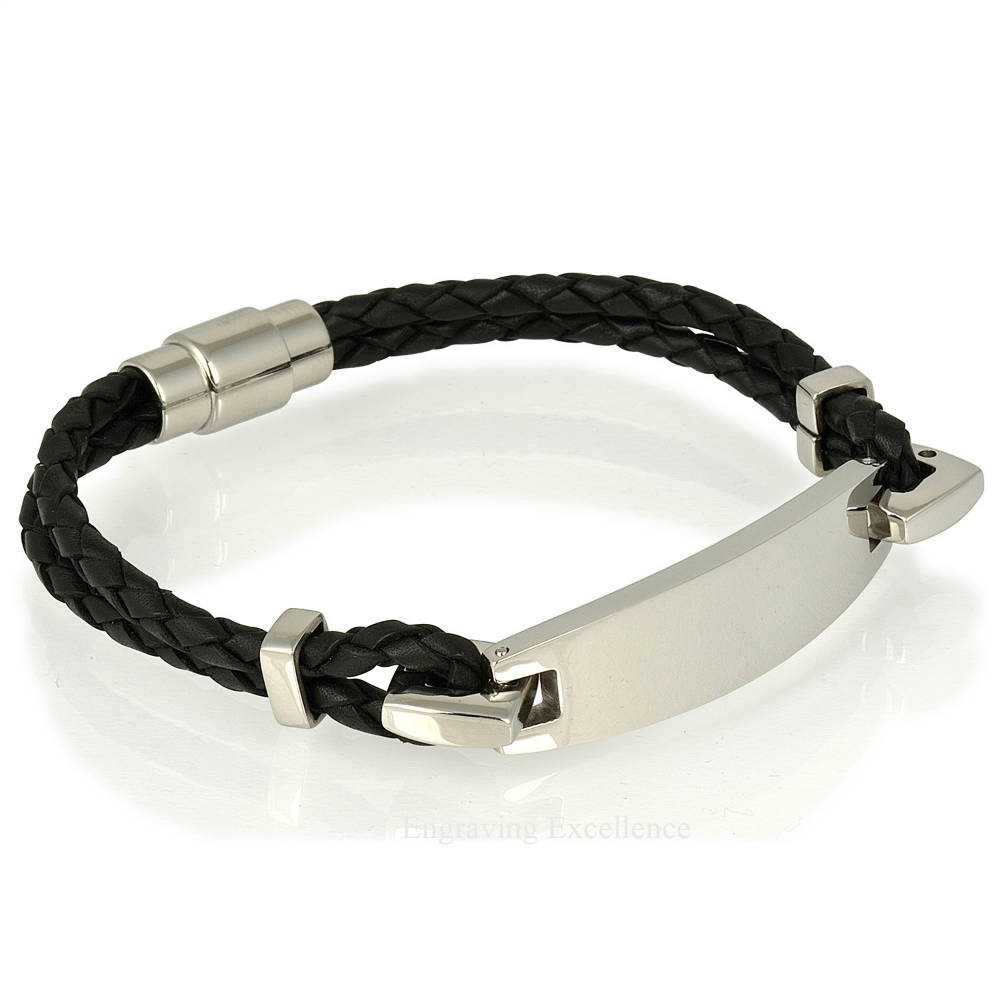 Black Leather I.D Bracelet
