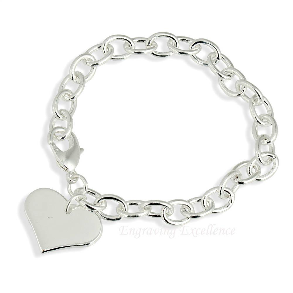 Ladies Heart Bracelet - Silver Plated