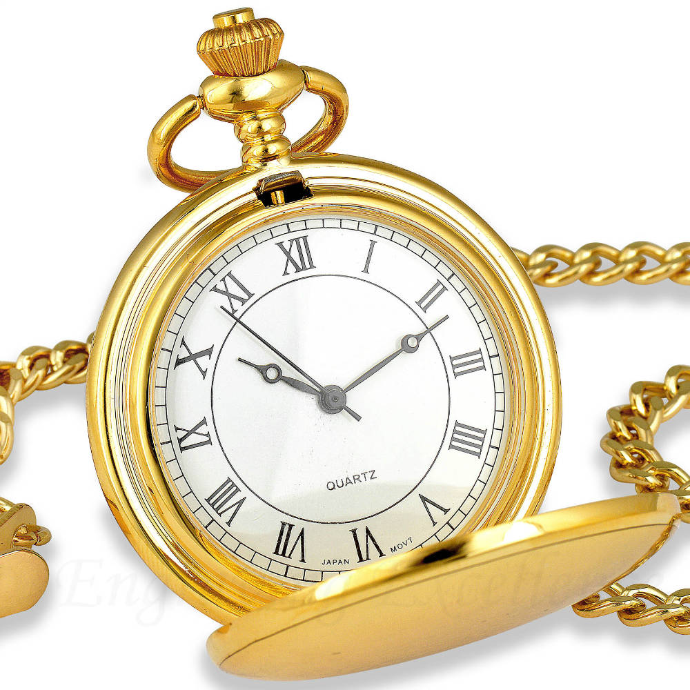 Gold Pocket Watch Roman Numerals