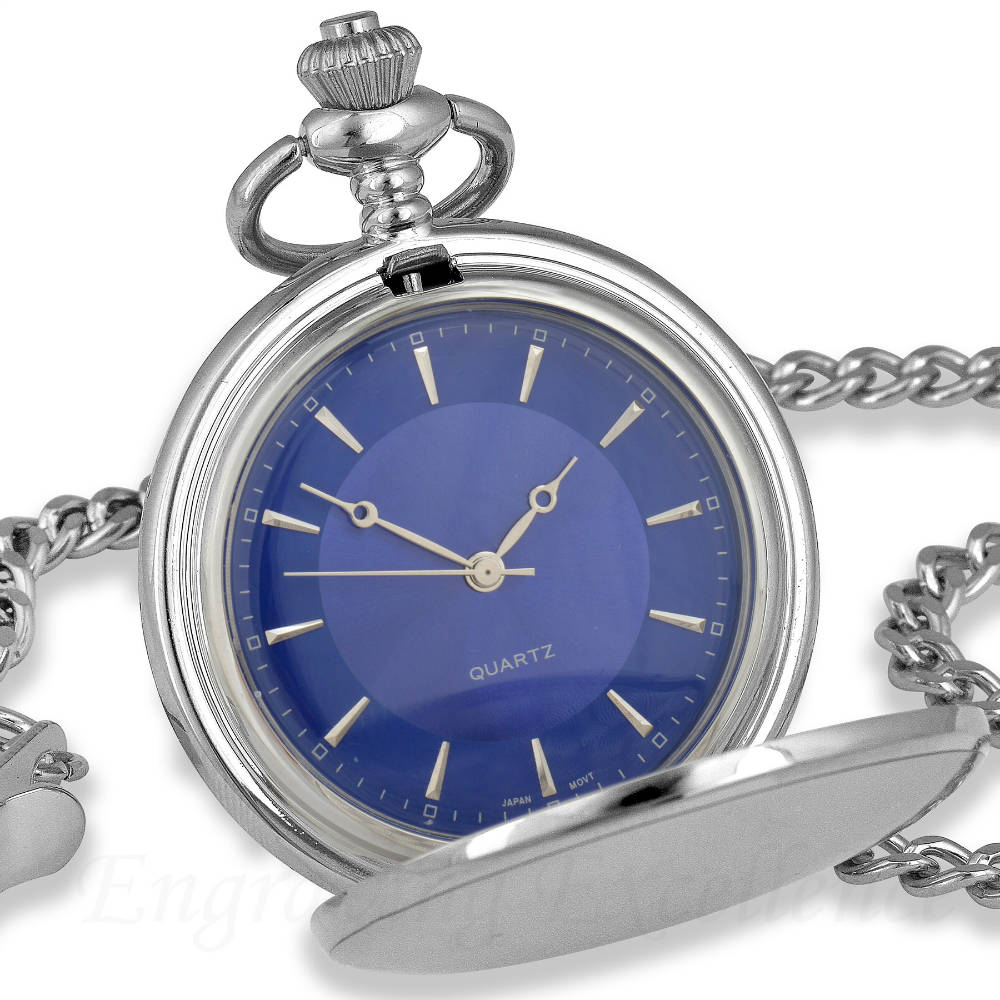Silver Pocket Watch Blue Dial