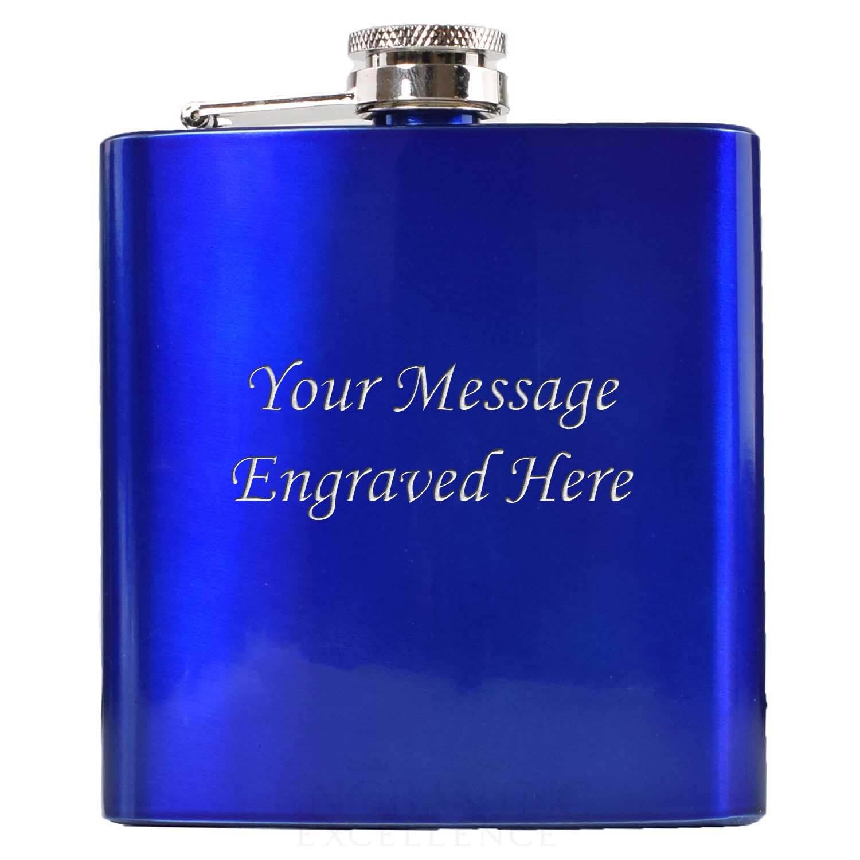 Engraved 6oz Blue Coloured  Hip Flask