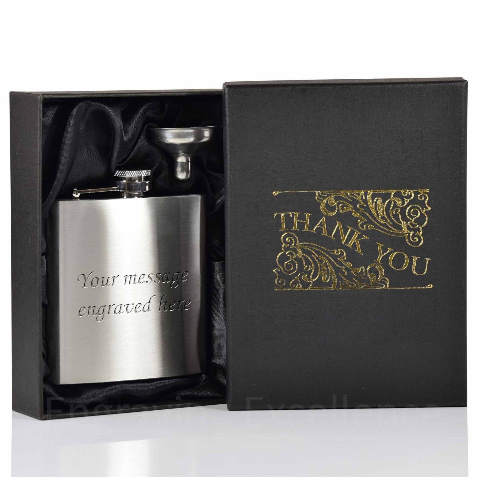 6oz Hip Flask with funnel and Gift Box - Thank You printed lid - duplicated