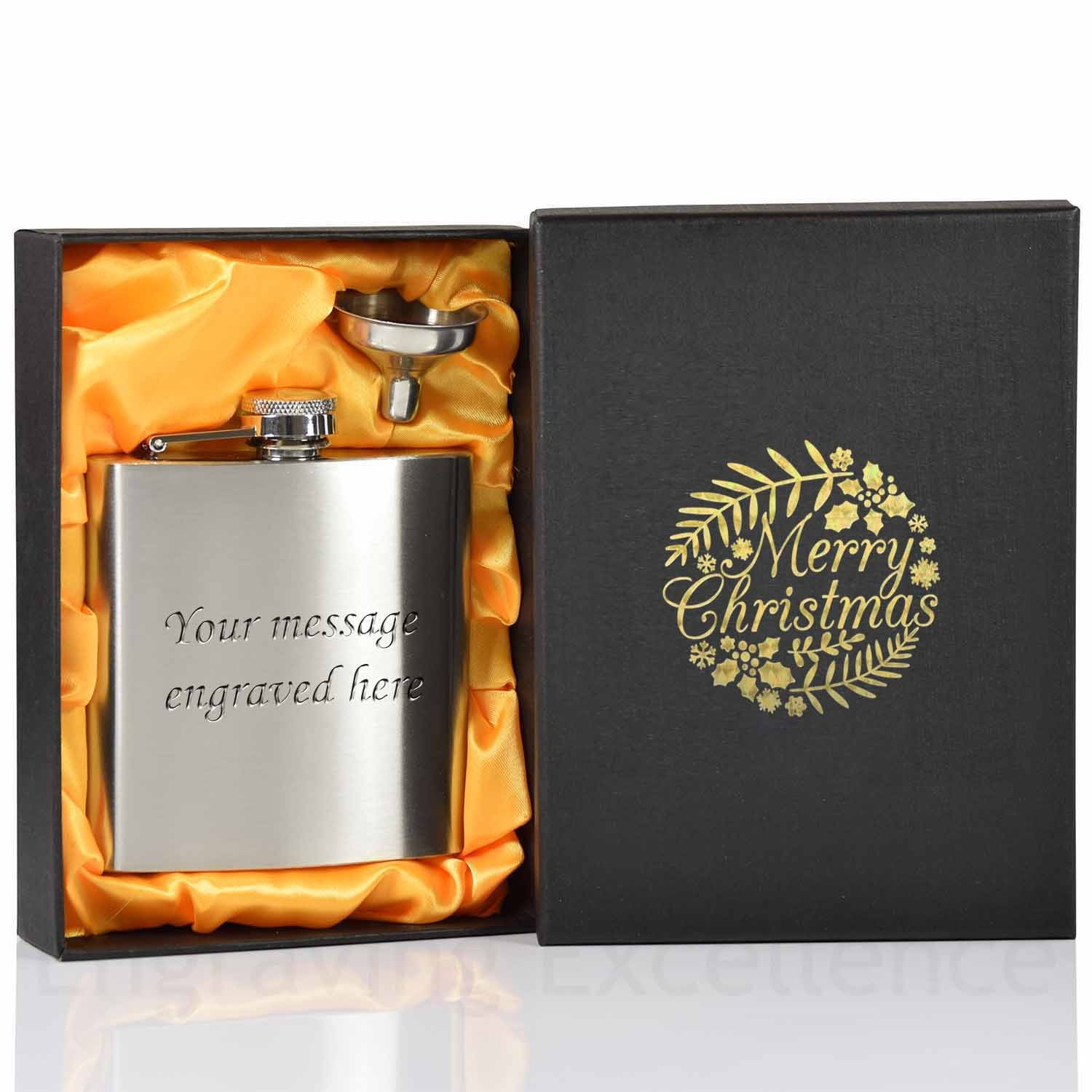 6oz Hip Flask with funnel and Gift Box - Merry Christmas Gold printed lid