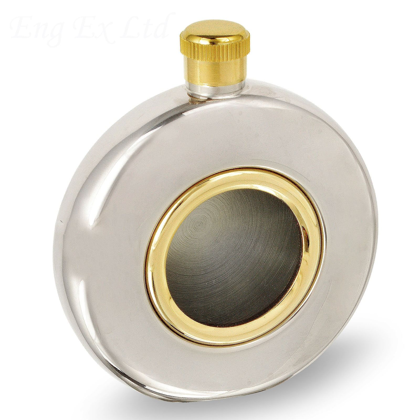 5oz Round Hip Flask with window - Gold Trim